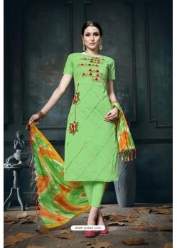 Parrot Green Heavy Jam Cotton Designer Suit