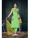 Parrot Green Heavy Jam Cotton Designer Suit