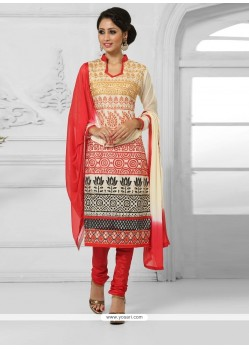 Refreshing Cream Resham Work Cotton Churidar Salwar Kameez