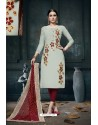 Light Grey And Maroon Heavy Jam Cotton Designer Suit