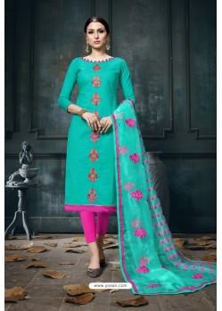 Aqua Mint And Rani Heavy Jam Cotton Designer Suit