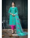 Aqua Mint And Rani Heavy Jam Cotton Designer Suit