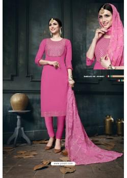 Hot Pink Heavy Jam Cotton Designer Suit