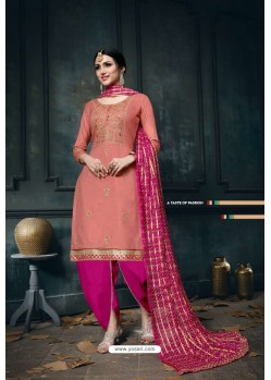Light Red And Pink Heavy Jam Cotton Designer Suit