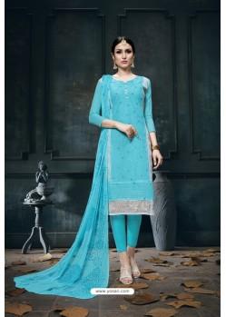 Sky Blue Heavy Jam Cotton Designer Suit