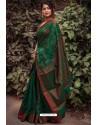 Dark Green Silk Blend Weaving Printed Saree