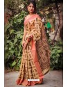 Light Beige Silk Blend Weaving Printed Saree
