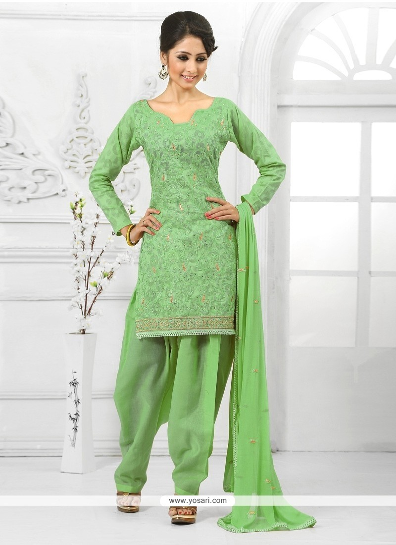 Lovely Embroidered Work Green Cotton Salwar Suit