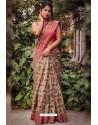 Beige Silk Blend Weaving Printed Saree