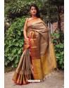 Brown Silk Blend Plain Saree