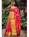 Crimson Silk Blend Plain Saree