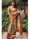Latest Brown Silk Blend Plain Saree