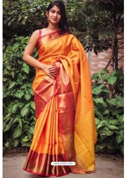 Yellow Silk Blend Plain Saree