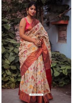 Light Beige Silk Blend Printed Saree