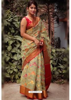 Sea Green Silk Blend Printed Saree