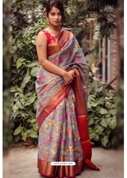 Grey Silk Blend Printed Saree