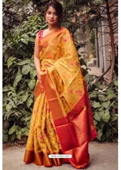 Yellow Silk Blend Printed Saree