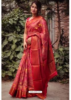 Red Silk Blend Printed Saree