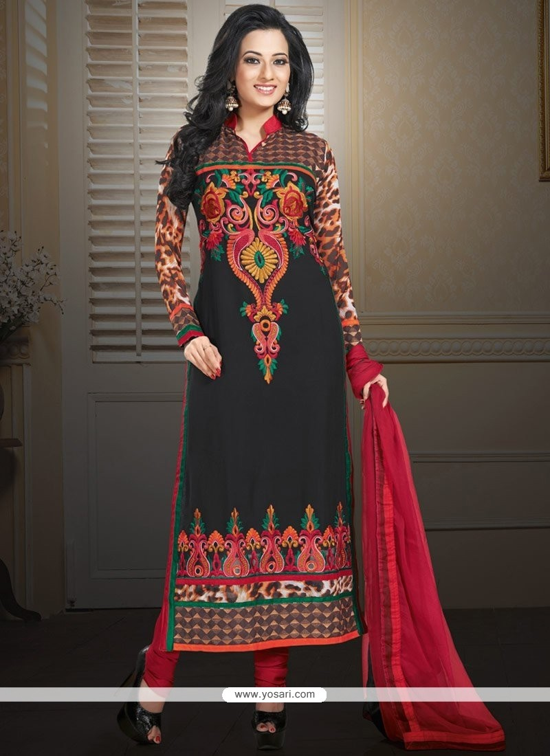 Marvelous Black Faux Georgette Churidar Suit
