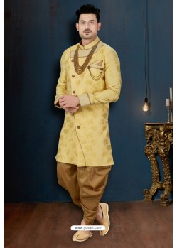 Lemon And Beige Lotus Jacquard Dhoti Style Sherwani