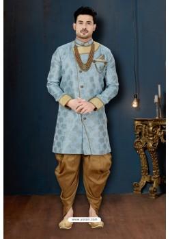 Blue And Beige Lotus Jacquard Dhoti Style Sherwani