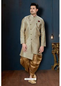 Golden And Beige Surahi Jacquard Dhoti Style Sherwani