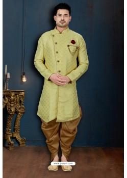 Yellow And Beige Barfi Jacquard Dhoti Style Sherwani