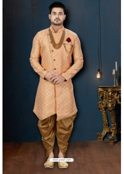 Light Orange And Beige Barfi Jacquard Dhoti Style Sherwani