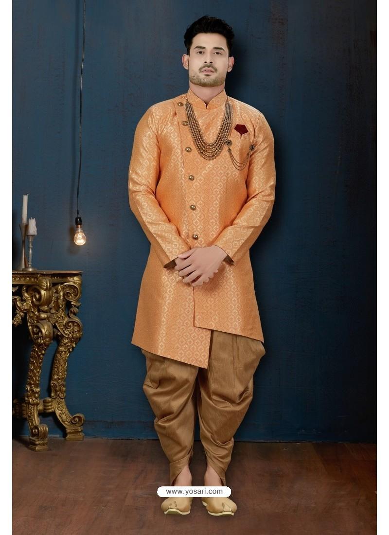 Orange And Beige Surahi Jacquard Dhoti Style Sherwani