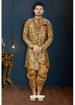 Yellow And Beige Jacquard Silk Dhoti Style Sherwani
