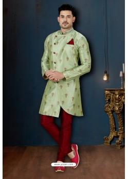 Sea Green And Maroon Sydany Silk Designer Sherwani