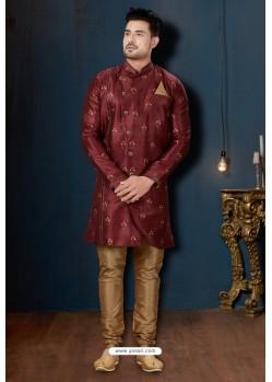 Maroon And Beige Sydany Silk Designer Sherwani