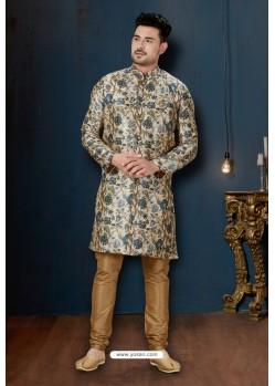 Cream And Beige Sydany Silk Designer Sherwani
