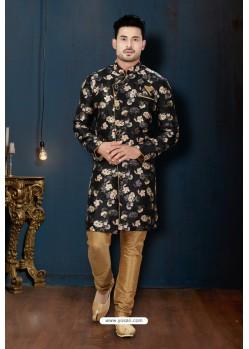 Black And Beige Sydany Silk Designer Sherwani