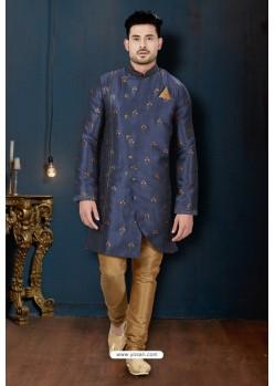 Navy Blue And Beige Sydany Silk Designer Sherwani