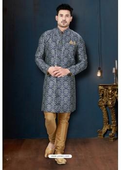 Stylish Navy And Beige Sydany Silk Designer Sherwani