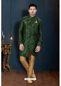 Dark Green And Beige Sydany Silk Designer Sherwani