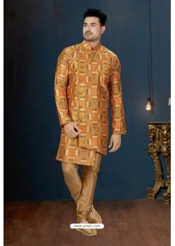 Orange And Beige Sydany Silk Designer Sherwani