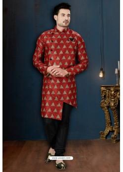 Red And Black Sydany Silk Designer Sherwani