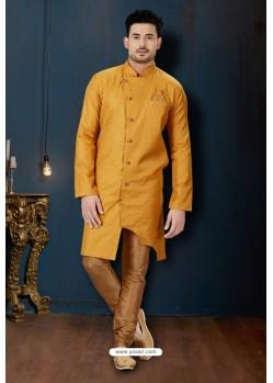 Yellow And Beige Slub Jacquard Designer Sherwani
