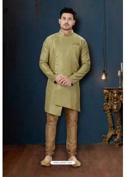 Mehendi And Beige Resh Jacquard Designer Sherwani