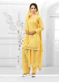 Modern Yellow Cotton Salwar Suit