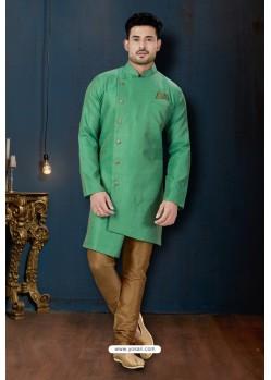 Jade Green And Beige Resh Jacquard Designer Sherwani