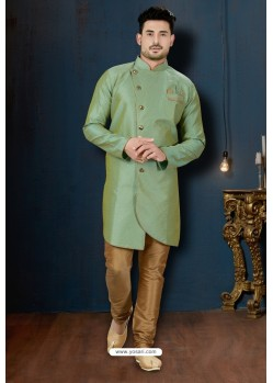 Green And Beige DP Jacquard Designer Sherwani
