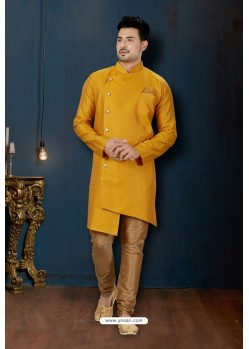 Yellow And Beige Resh Jacquard Designer Sherwani