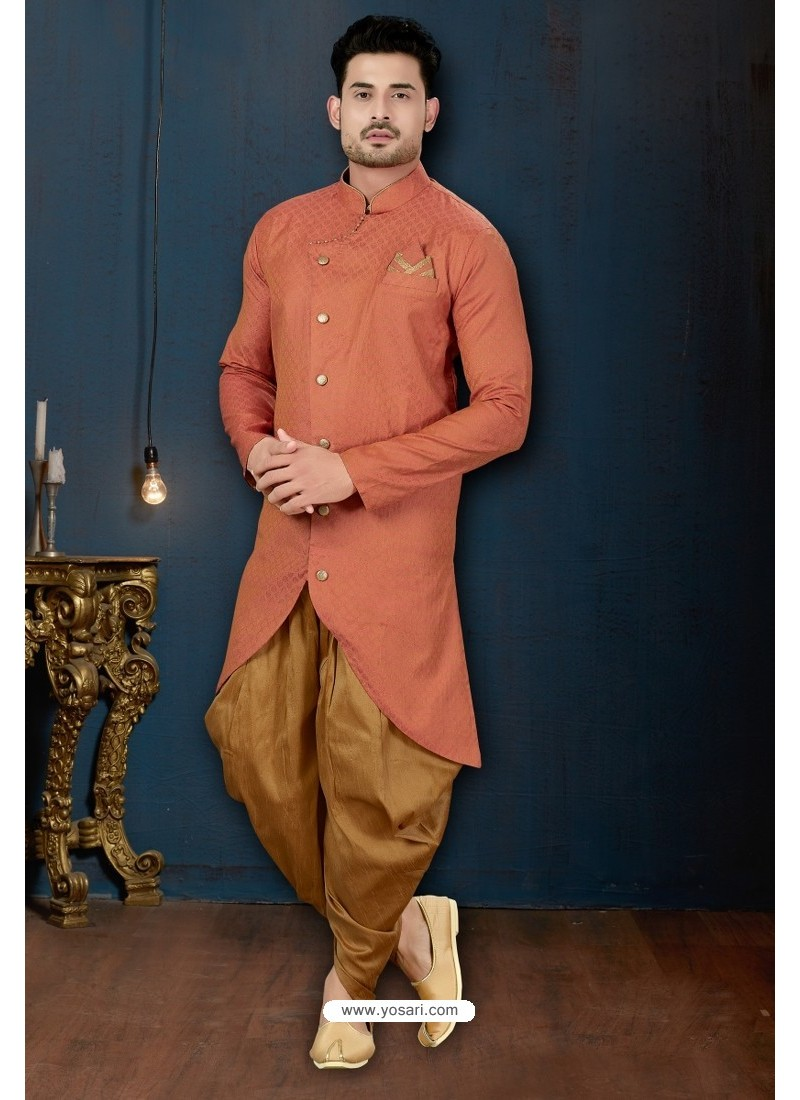 Light Red And Beige Slub Jacquard Dhoti Style Sherwani