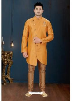 Mustard And Beige DP Jacquard Designer Sherwani