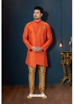 Orange And Beige Booti Silk Designer Sherwani