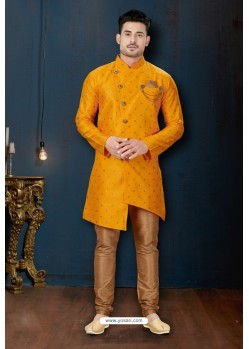 Yellow And Beige Booti Silk Designer Sherwani