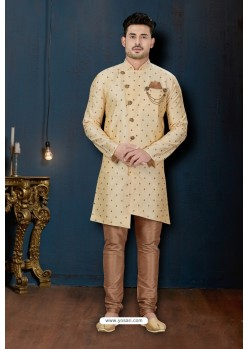 Cream And Beige Booti Silk Designer Sherwani